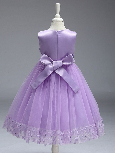 Ball Gown Knee Length Wedding / Party Flower Girl Dresses - Tulle Sleeveless Jewel Neck With Bow(S)_18