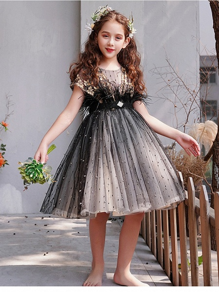 A-Line Knee Length Engagement Party / Pageant Flower Girl Dresses - Lace / Tulle Short Sleeve Jewel Neck With Feathers / Fur / Embroidery / Appliques_3