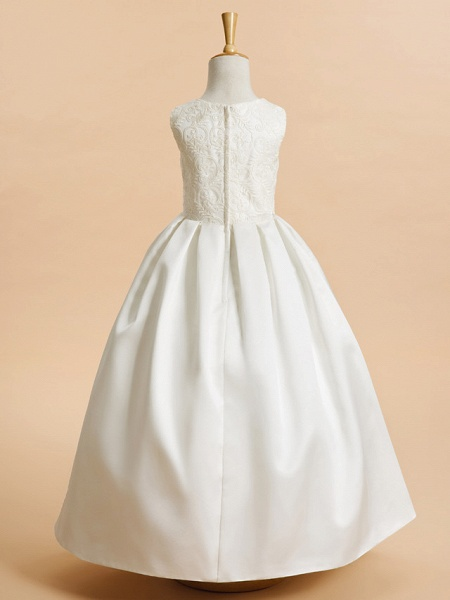 A-Line Ankle Length Wedding / First Communion Flower Girl Dresses - Lace / Satin Sleeveless Jewel Neck With Lace_3