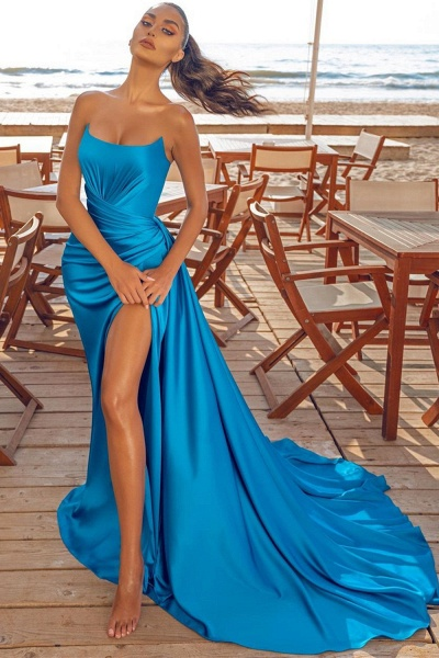 Modest Long Mermaid Formal Evening Dress with Slit