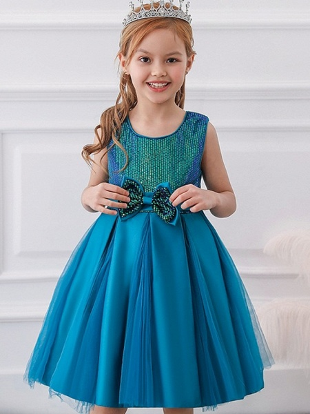 Princess / Ball Gown Knee Length Wedding / Party Flower Girl Dresses - Tulle Sleeveless Jewel Neck With Sash / Ribbon / Bow(S) / Paillette_3
