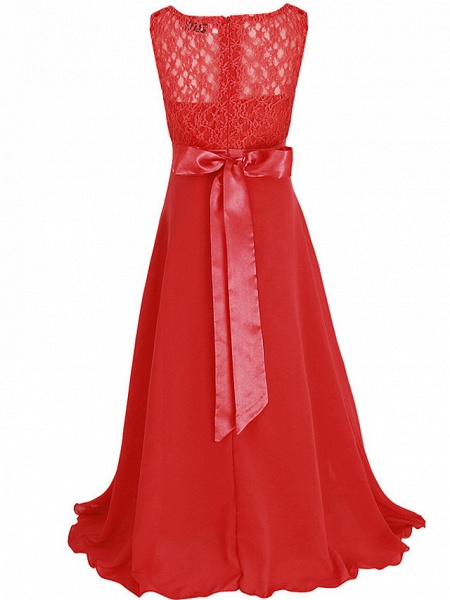 Princess / Ball Gown Maxi Party / Formal Evening / Pageant Flower Girl Dresses - Tulle / Poly&Cotton Blend Sleeveless Jewel Neck With Lace / Solid_22