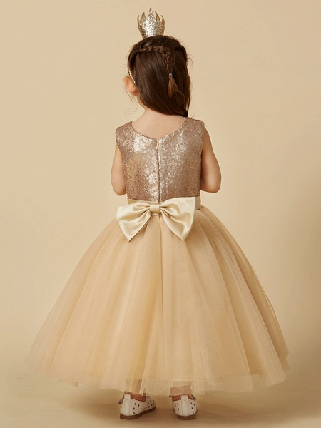 Princess Ankle Length Pageant Flower Girl Dresses - Tulle / Sequined Sleeveless Jewel Neck With Sash / Ribbon / Bow(S)_2