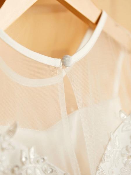 Princess Tea Length Wedding / Birthday / Pageant Flower Girl Dresses - Satin / Tulle Sleeveless Jewel Neck With Bows / Belt / Beading_7