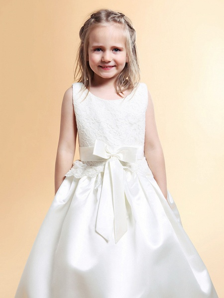 Princess / A-Line Floor Length Wedding / First Communion Flower Girl Dresses - Lace / Satin Sleeveless Scoop Neck With Lace / Sash / Ribbon / Bow(S) / Spring / Summer / Fall / Winter_3