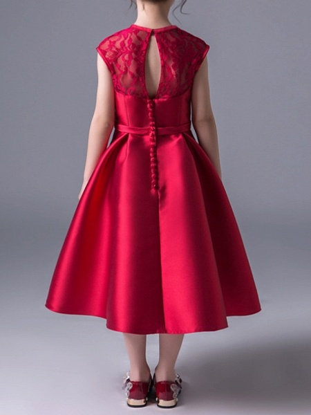 A-Line Jewel Neck Ankle Length Poly&Cotton Blend Junior Bridesmaid Dress With Lace_4