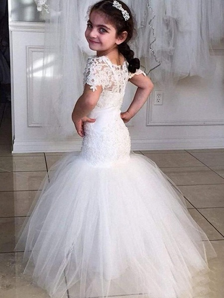 Mermaid / Trumpet Sweep / Brush Train Wedding Flower Girl Dresses - Tulle Short Sleeve Jewel Neck With Appliques / Solid_1