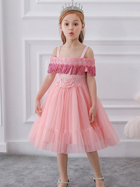 Princess / Ball Gown Knee Length Wedding / Party Flower Girl Dresses - Tulle Short Sleeve Off Shoulder With Bow(S) / Pleats / Beading_1