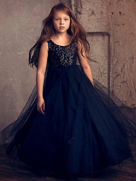 Princess / Ball Gown Ankle Length Wedding / Party Flower Girl Dresses - Lace / Tulle Sleeveless Jewel Neck With Flower / Paillette_1