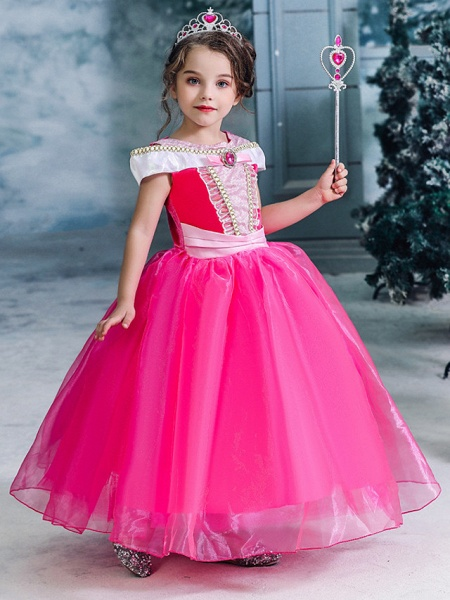 Ball Gown Floor Length Wedding / Party Flower Girl Dresses - Tulle Sleeveless Jewel Neck With Solid_3