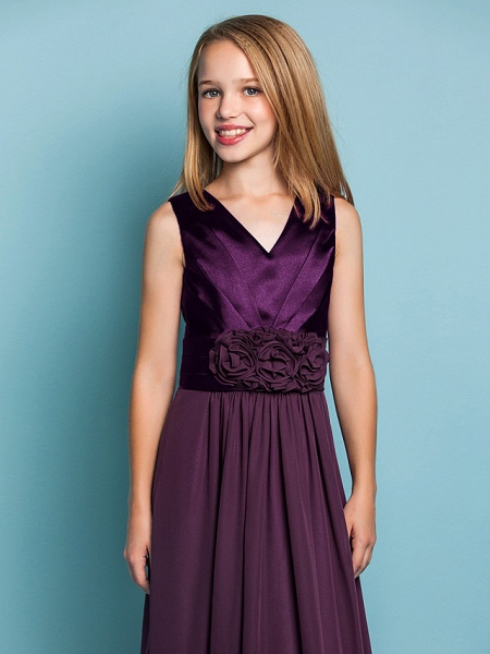 Sheath / Column V Neck Floor Length Chiffon Junior Bridesmaid Dress With Flower / Spring / Summer / Fall / Apple / Hourglass_5