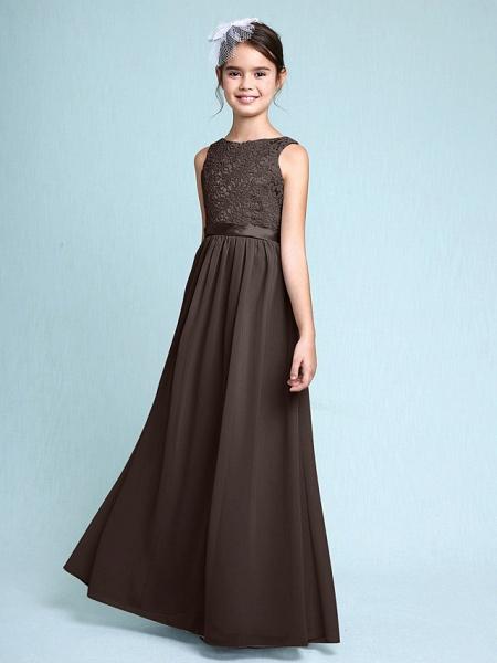 Sheath / Column Bateau Neck Floor Length Chiffon / Lace Junior Bridesmaid Dress With Lace / Natural_25
