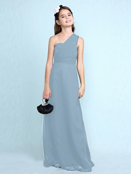 Sheath / Column One Shoulder Floor Length Chiffon Junior Bridesmaid Dress With Side Draping / Natural_34