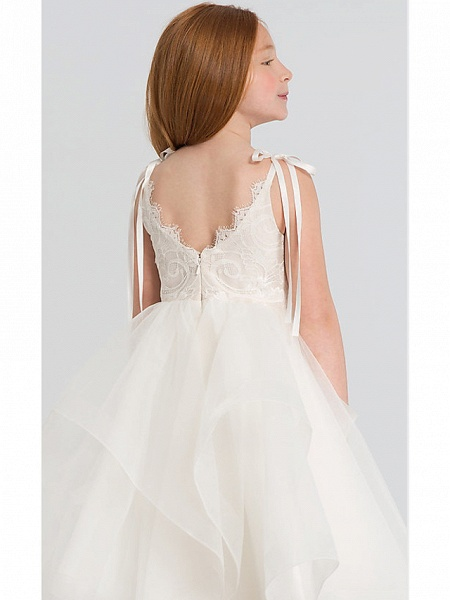 A-Line Tea Length Wedding Flower Girl Dresses - Lace / Satin / Tulle Sleeveless Scalloped Neckline With Tier / Solid_4