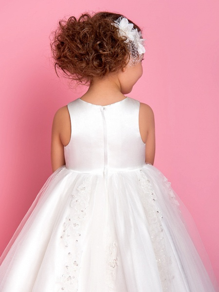 Princess / A-Line Tea Length Wedding / First Communion Flower Girl Dresses - Satin / Tulle Sleeveless Jewel Neck With Beading / Appliques / Spring / Summer / Fall / Winter_5