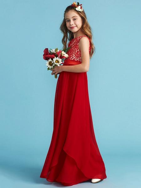 Sheath / Column Jewel Neck Floor Length Chiffon / Lace Junior Bridesmaid Dress With Sash / Ribbon / Appliques_3