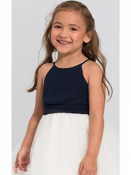 A-Line Floor Length Wedding / Party Flower Girl Dresses - Satin / Taffeta / Tulle Sleeveless Jewel Neck With Bow(S) / Tier_3