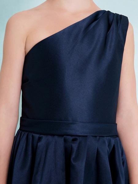 A-Line One Shoulder Knee Length Satin Junior Bridesmaid Dress With Sash / Ribbon / Pleats / Natural_7