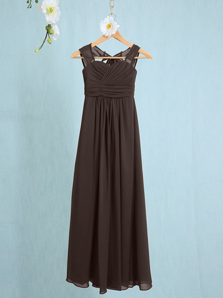 Sheath / Column Straps Ankle Length Chiffon Junior Bridesmaid Dress With Ruched / Natural_21