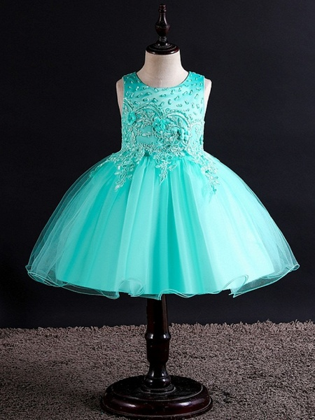 Princess / Ball Gown Knee Length Wedding / Party Flower Girl Dresses - Tulle Sleeveless Jewel Neck With Bow(S) / Beading / Appliques_3