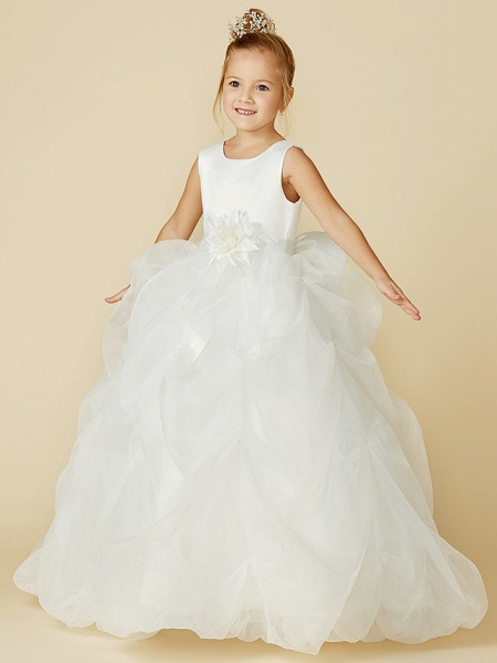 Ball Gown Floor Length Wedding / First Communion Flower Girl Dresses - Organza / Satin Sleeveless Jewel Neck With Sash / Ribbon / Bow(S) / Flower_7