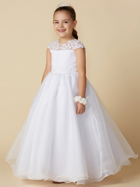 Ball Gown Ankle Length Wedding / First Communion Flower Girl Dresses - Lace / Tulle Short Sleeve Jewel Neck With Beading / Appliques_1