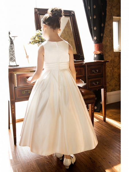 Princess / A-Line Tea Length Wedding / First Communion Flower Girl Dresses - Satin Sleeveless Jewel Neck With Bow(S) / Ruched_5