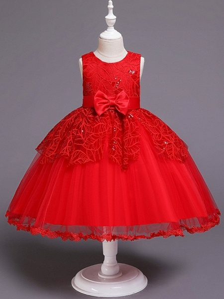 Princess / Ball Gown Floor Length Wedding / Party Flower Girl Dresses - Tulle Sleeveless Jewel Neck With Sash / Ribbon / Bow(S)_6