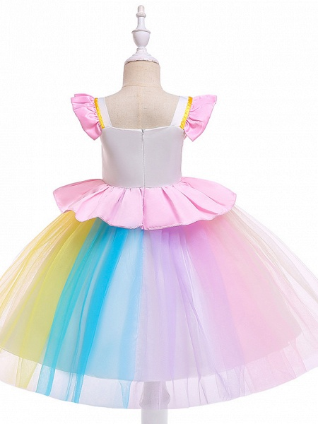 Princess Midi Party / Birthday / Pageant Flower Girl Dresses - Tulle Sleeveless Jewel Neck With Petal / Ruffles / Pattern / Print_6