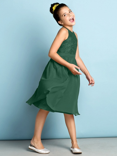 A-Line Jewel Neck Knee Length Chiffon / Lace Junior Bridesmaid Dress With Lace / Natural / Mini Me_42