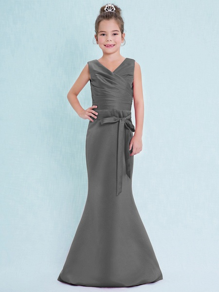 Mermaid / Trumpet V Neck Floor Length Satin Junior Bridesmaid Dress With Criss Cross / Natural_26