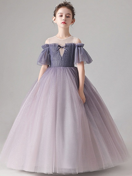 Ball Gown Floor Length Party / Birthday Flower Girl Dresses - Tulle Short Sleeve Jewel Neck With Pleats_5