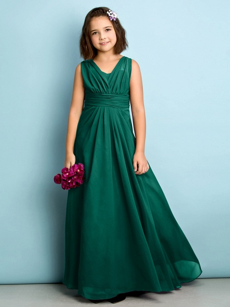 A-Line V Neck Floor Length Chiffon Junior Bridesmaid Dress With Criss Cross / Natural / Mini Me_25