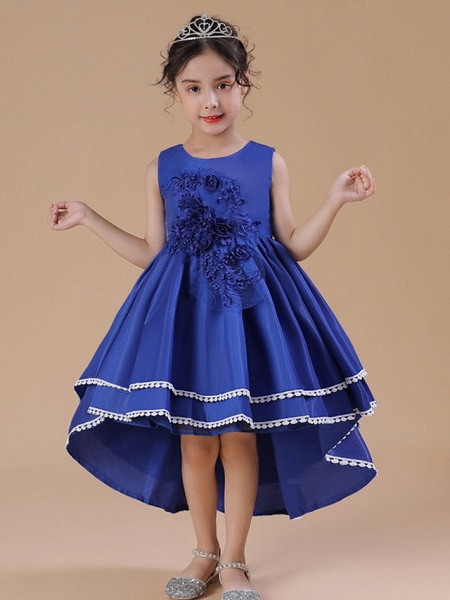 A-Line Asymmetrical Wedding / Party Flower Girl Dresses - Satin Chiffon Sleeveless Jewel Neck With Bow(S) / Appliques_2
