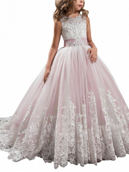 Princess Sweep / Brush Train Wedding / Birthday / Pageant Flower Girl Dresses - Tulle / Mikado Sleeveless Jewel Neck With Bow(S) / Appliques / Crystals / Rhinestones_7
