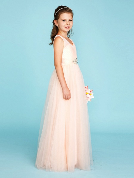 Princess / A-Line V Neck Floor Length Tulle Junior Bridesmaid Dress With Criss Cross / Crystals / Wedding Party_3