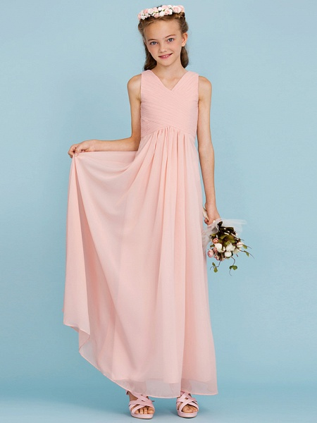 Sheath / Column V Neck Floor Length Chiffon Junior Bridesmaid Dress With Criss Cross / Pleats / Wedding Party / Open Back_4