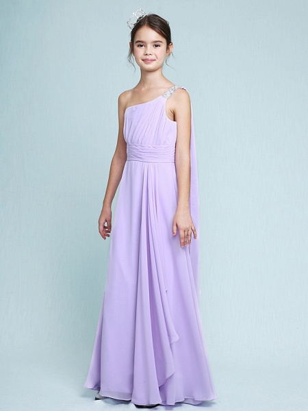 Sheath / Column One Shoulder Floor Length Chiffon Junior Bridesmaid Dress With Ruched / Beading / Side Draping / Natural_5
