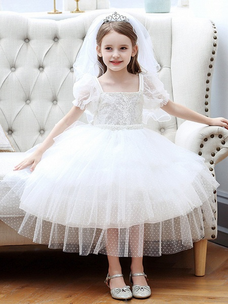 Princess / Ball Gown Tea Length Wedding / Party Flower Girl Dresses - Tulle Short Sleeve Square Neck With Cascading Ruffles_2
