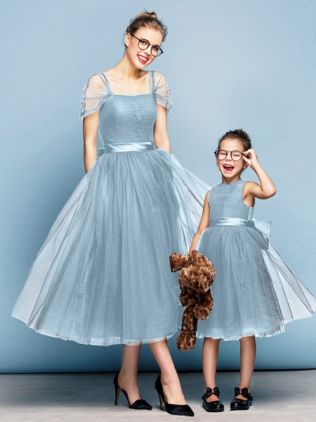 Princess Tea Length Party / Prom / Formal Evening Flower Girl Dresses - Tulle Short Sleeve Square Neck With Bow(S) / Ruched / Elegant_30