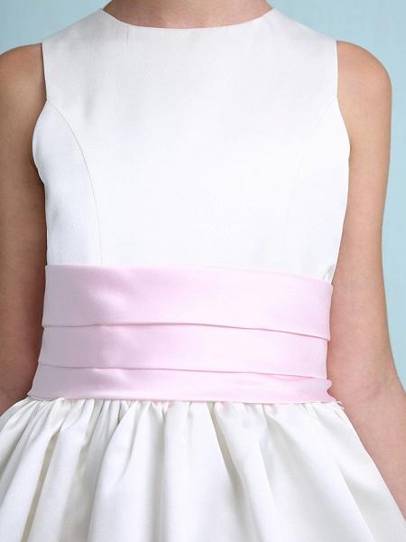 Princess / A-Line Jewel Neck Knee Length Satin Junior Bridesmaid Dress With Sash / Ribbon / Ruched / Ruffles / Spring / Summer / Fall / Winter / Wedding Party_10