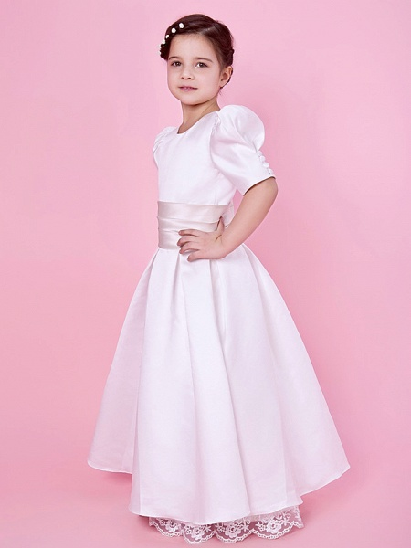 Princess / A-Line Floor Length First Communion / Wedding Party Lace / Satin Short Sleeve Jewel Neck With Lace / Sash / Ribbon / Buttons / Spring / Fall / Winter_3