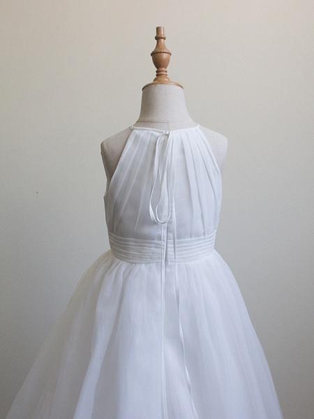 Princess Long Length Christmas / Birthday / First Communion Flower Girl Dresses - Chiffon / Organza / Tulle Sleeveless Jewel Neck With Draping_5