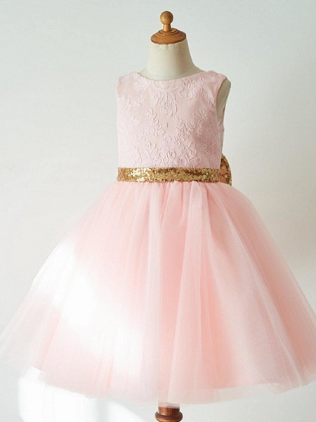 Ball Gown Knee Length Wedding / First Communion / Pageant Flower Girl Dresses - Lace / Tulle Sleeveless Jewel Neck With Bow(S)_3