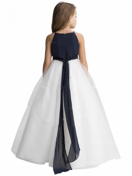 A-Line Floor Length Wedding / Party Flower Girl Dresses - Chiffon / Tulle Sleeveless Jewel Neck With Ruching_2