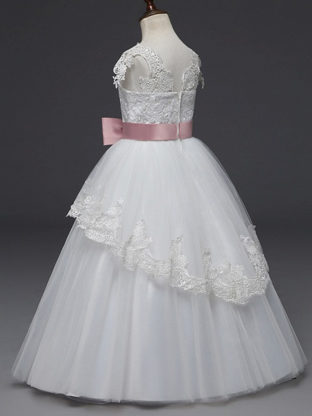 Princess Long Length Wedding / First Communion Flower Girl Dresses - Lace / Tulle Cap Sleeve Scoop Neck With Belt / Appliques_3