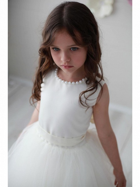 Princess / Ball Gown Floor Length Wedding / Party Flower Girl Dresses - Tulle Sleeveless Jewel Neck With Pleats / Solid_3