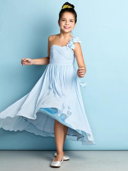 A-Line One Shoulder Asymmetrical Chiffon Junior Bridesmaid Dress With Criss Cross / Flower / Natural / Mini Me_11