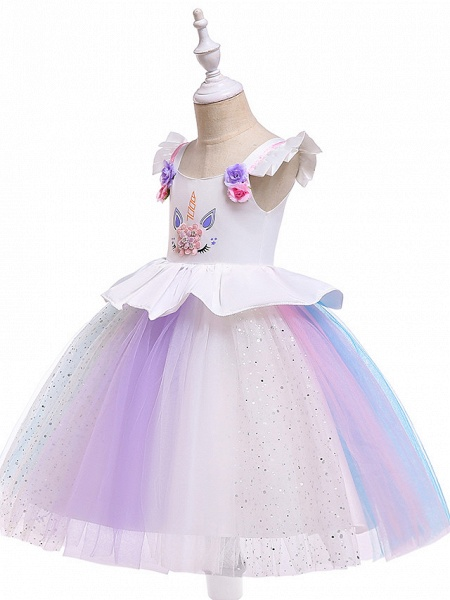 Princess Midi Party / Birthday / Pageant Flower Girl Dresses - Tulle Sleeveless Jewel Neck With Petal / Ruffles / Pattern / Print_9