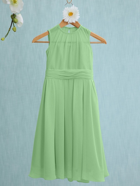 Sheath / Column Jewel Neck Knee Length Chiffon Junior Bridesmaid Dress With Ruched / Natural_27